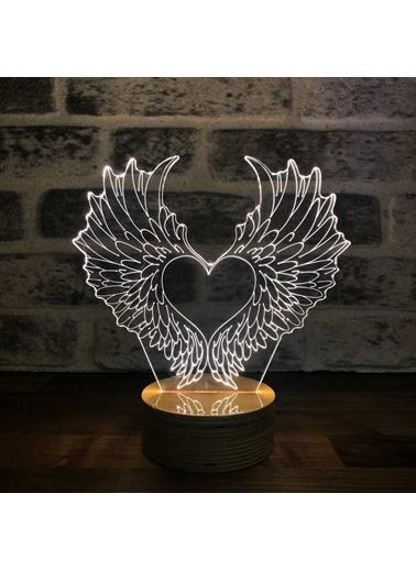 By-Lamp 3 Boyutlu Kalp Kanatlar Led Masa Lambası Renkli